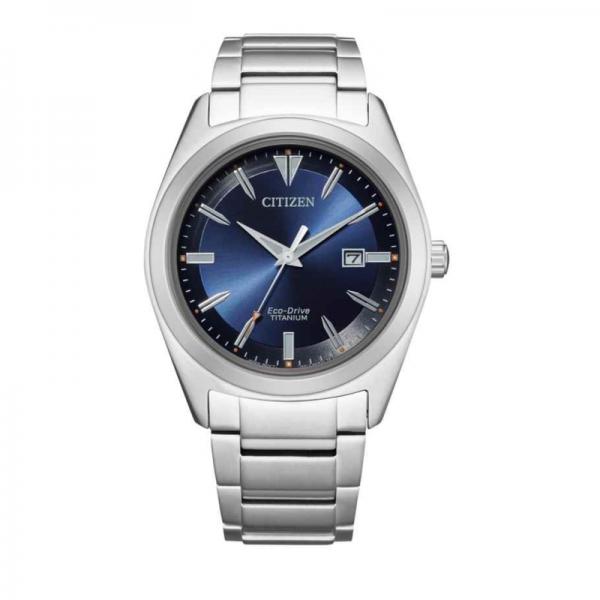 Citizen Eco Drive titanium horloge met blauwe wijzerplaat