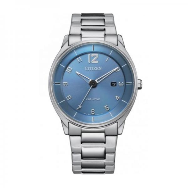 Citizen Eco Drive horloge met helderblauwe wijzerplaat