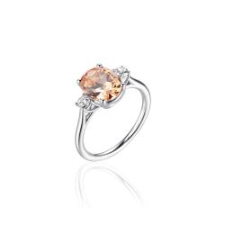 Zilveren ring met champagnekleurige zirkonia